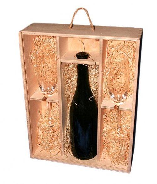 Dřevěná dárková krabička na víno 911550